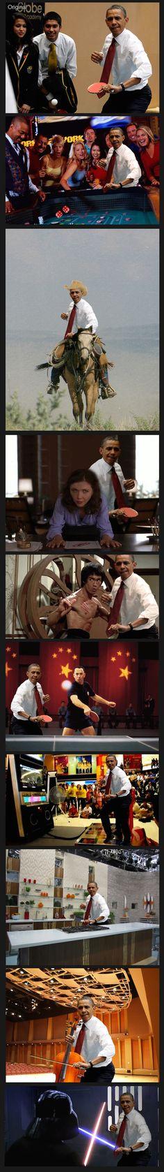 Obama playing ping pong photoshop battle