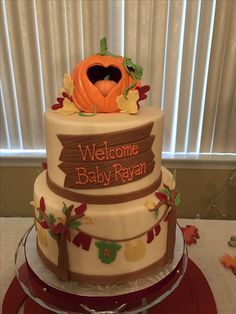 Baby Shower Cakes, Baby Shower Themes, Baby Shower Decorations, Shower Ideas, Baby Shower Fall, Fall Baby, Baby Boy Shower, October Baby Showers, Pumpkin First Birthday