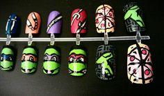 Teenage Mutant Ninja Turtles Nail Art by MaryMars on Etsy, $18.00