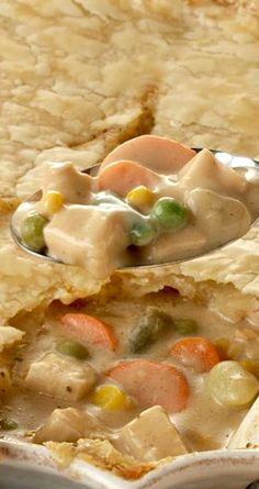 Turkey Pot Pie ~ A delicious one-pan-meal using leftover turkey from Thanksgiving or leftover roasted or rotisserie chicken.