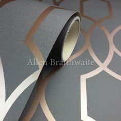 Fine Decor Apex Trellis Copper/Charcoal Wallpaper