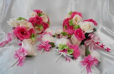 Wedding Bridal Bouquets Your Colors 15 pcs Package Hot Pink Green Ivory Rose Hydrangea Toss Bridesma Wedding Flower Packages, Wedding Flowers, Silk Roses, Silk Flowers, Bridesmaid Bouquet, Bridal Bouquets, Flower Girl Headpiece, Groomsmen Boutonniere, Flower Packaging