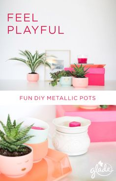 Dress up drab office desks with these funky tiny planters. Gold vinyl adhesive cutouts and the playful scent of Poppy Groove wax melts add excitement to these easy-to-make tiny succulent filled flowerpots.