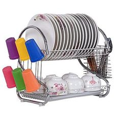 2 Tier Stainless Steel Dish Rack Chrome Plate Dish Cutlery Cup Rack With Tray