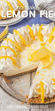 No Bake Lemon Pie is an easy icebox pie with tons of delicious lemon flavor. Make the homemade graham cracker crust first then create the easy lemon filling. Top with lemon slices for a pie that is tasty and beautiful! No Bake Lemon Pie, Lemon Pie Recipe, Lemon Recipes, Tart Recipes, Cheesecake Recipes, Baking Recipes, Sweet Recipes, Dessert Recipes, Kitchen Recipes