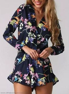 Flower Printed Cotton Shorts Jumpsuit Casual Long Sleeve Summer Floral Jumpsuit V Neck Brand New Club Wear Women Rompers Cute Rompers, Rompers Women, Jumpsuits For Women, Moda Floral, Long Sleeve Playsuit, Floral Romper Long Sleeve, Floral Playsuit, Floral Jumpsuit, Plus Size Clothing