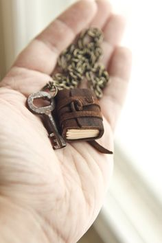 Mini Leather Journal Necklace with Antique Key by wayfaringart