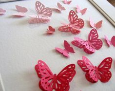 11x14 Ombre Pink 3D Butterfly Art or YOUR Colour Choices.