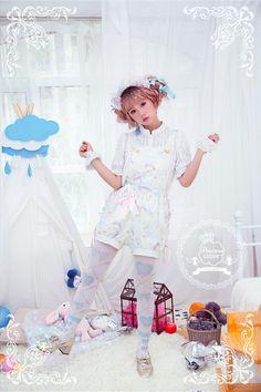 Precious Clove -Royal Milk- Sweet Lolita overalls