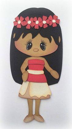 PRINCESS MOANA GIRL PREMADE PAPER PIECING 3D DIE CUT MYTB KIRA #Handmade