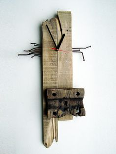Wall Clock pallet wood rusty nails asseblage by objecta on Etsy
