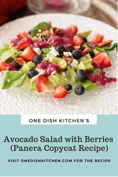 This avocado salad recipe is a Panera copycat recipe and is one of my favorite salads. Salad greens topped with berries, chopped pecans, and Feta cheese, then topped with a delightful blueberry vinaigrette. This single serving salad is easy to make and can be ready in minutes! Avocado Salad, Fruit Salad, Kitchen Dishes, Copycat Recipes, Berries, Food, Fruit Salads, Essen, Avocado Salads