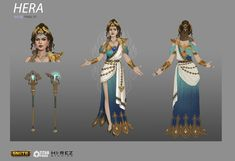 I had an opportunity to moonlight as a concept artist for a few months, and I was so lucky to get to work on Hera for Smite. Such a fun character to work on, and I've been really pleased with the overall reception from the community. John Bridges and Hera Goddess, Greek Goddess Art, Greek Goddess Costume, Greek Mythology Gods, Gods And Goddesses, Greek Gods, Greek Godesses, Female Character Inspiration, Character Design