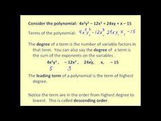 (4.1)  Introduction to Polynomials