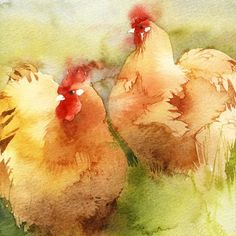 ARTFINDER: Orpingtons by Kate Osborne - A painting of a pair of the roundest chickens ever bred (probably). A friend keeps this breed in her beautiful garden, and they are as docile as they look