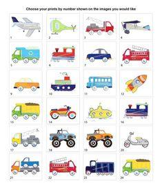 Transportation Wall Art For Boys Nursery or Toddler Bedding Decor Wall Art Decor, Wall Art Prints, Bon Point, Flashcards For Kids, Transportation Theme, Truck Art, Fused Glass Art, Preschool Learning, Drawing For Kids