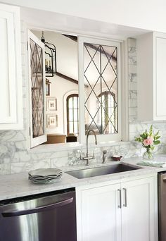 Leaded Glass Kitchen Pass Through Windows, Transitional, Kitchen