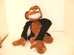Stuffed Plush Soft Teddy Monkey Toy Velcro Hands Brown Black & White  #Unbranded #AllOccasion