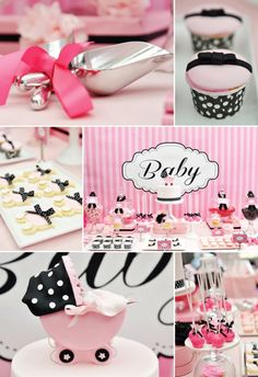 Pink, White, and Black baby shower theme,   Whether they're scooping candy, coffee, sugar or another treat, your guests will have sweet memories of your day each time they use them. Utensil favors are in - so don't miss out!  #timelesstreasure