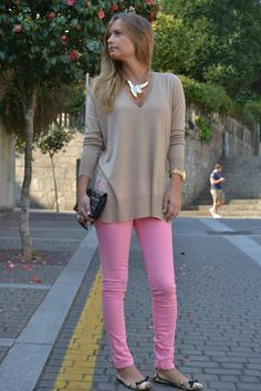 pink jeans in fall