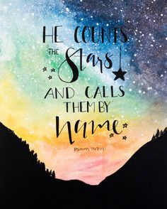 INSTANT DOWNLOAD - Psalm 147:4 Bible Verse Art Printable, Scripture Print, Christian Wall Art, Bible Verse Poster, 30 days of Bible lettering, God, Jesus