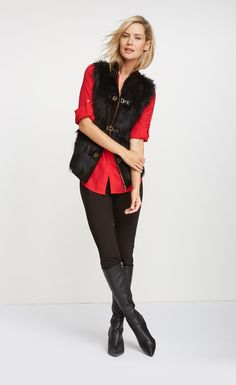Add an instant luxe feel to your look with this Calvin Klein vest.