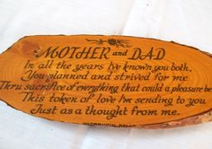 Wood Plaque, Mom and Dad, Vintage Plaque, Mother and Dad, Wood Hanging Souvenir by VintagePlusCrafts on Etsy