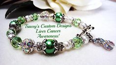 Beautiful LIVER CANCER AWARENESS Bracelet  by TraceysCustomDesigns, $37.90