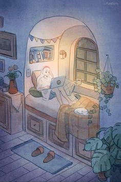 Raining at the window Kawaii Wallpaper, Cartoon Wallpaper, Aesthetic Art, Aesthetic Anime, Arte 8 Bits, Arte Do Kawaii, Anime Scenery Wallpaper, Dibujos Cute, Cartoon Art Styles