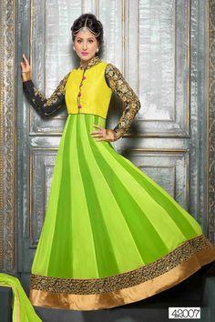 THAYARI.COM Latest Lamon Green Color In New Designer Anarkali Suits