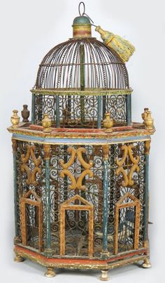 PAINTED WOOD AND WIRE BIRDCAGE - 19th Century