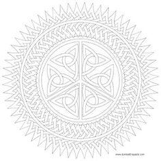Peace symbol knotwork mandala to color- jpg and transparent PNG format