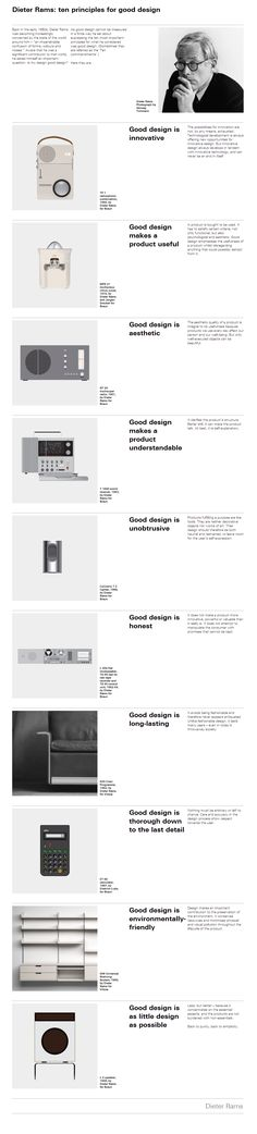 Gracias Dieter Rams // Would be cool to have design principles hanging up, to remind others of the importance of strategic design thinking. Design Thinking, Ui Ux Design, Interface Design, Layout Design, Braun Design, Corporate Design, Area Industrial, Industrial Style, Industrial Stairs