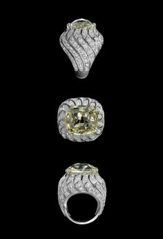Cartier - XXVIth Biennale des Antiquaires  Solar landscape: Ring - platinum, one 15.64-carat cushion-shaped yellow-light diamond, brilliants.    Solar Landscape  A brilliant eclipse reveals dazzling rings. Sublime shades of brown, sand and ochre reveal all their sparkle and rich warm tones.