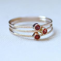 The Garnets Set of Three Tiny Stack Rings