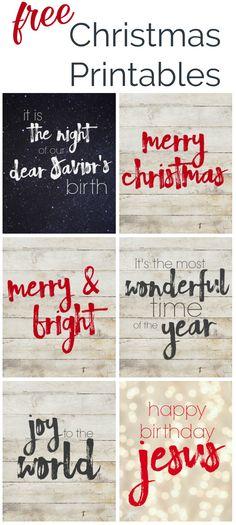 6 Free Christmas printables. Modern Farmhouse style Christmas printables to celebrate the true meaning for the season.