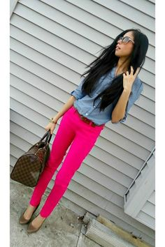 Discover this look wearing Hot Pink Jeans, Light Blue Blouses tagged brown bag, denim shirt, pink trousers - A pop of Fuschia by Ilynn styled for Chic, Lunch Date in the Spring Pink Jeans Outfit, Black Ripped Jeans Outfit, Pink Skinny Jeans, Blue Jeans, Hot Pink Pants, Purple Pants, Rosa Jeans, Summer Outfits, Cute Outfits