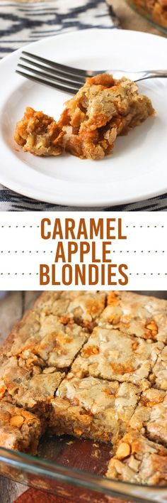 Rich and gooey caramel apple blondies - delicious served warm!