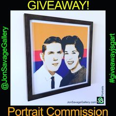 Giveaway Portrait Commission at Instagram: @JonSavageGallery!  -------------------------------------- #art #artist #popart #popartist #contemporary #contemporaryart #summer #feelgood #happy #happiness #portrait #personalized #commission #artcommission #contest #free #giveaway #sandiego #california #jonsavagegallery #framed