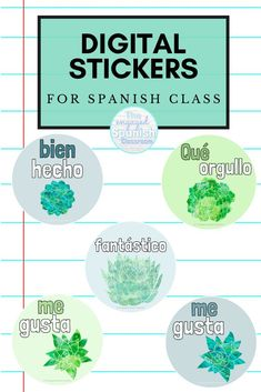 In a hybrid or remote learning environment, building connections with students is more difficult than ever. I have had success using digital stickers as rewards; a simple step to making connections with my students when we can't be face to face. Click through to read my suggestions for designing them, or to find options I have for you! I have designs available in English, French, and Spanish. Great for middle and high school language classes! Study Spanish, Spanish 1, Spanish Lessons, Spanish Classroom, Teaching Spanish, Language Classes, Middle School Spanish, Making Connections, Spanish Activities