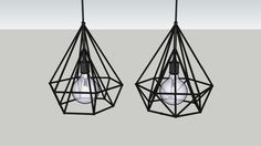 Large preview of 3D Model of Industrial Metal Diamond Pendant Lights
