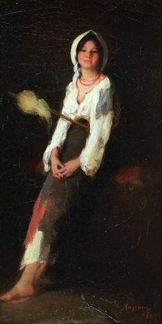 "Nicolae Grigorescu, ""Peasant with Flax"""