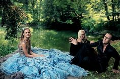 Alice In Wonderland For Vogue By Annie Leibovitz ||  Atelier Versace layered silk-tulle and chiffon-organza dress lined in lace; Donatella Versace and Rupert Everett as the Gryphon and the Mock Turtle