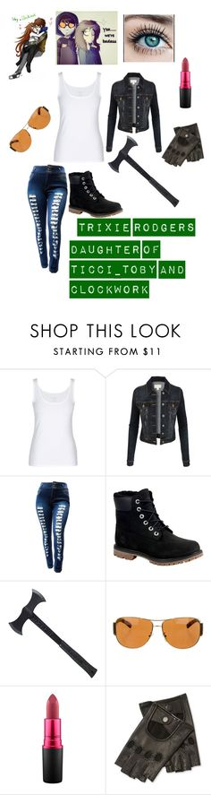 """""""Trixie Rodgers"""" by emma0502 on Polyvore featuring LE3NO, Timberland, Estwing, Prada, MAC Cosmetics and Maison Fabre"""