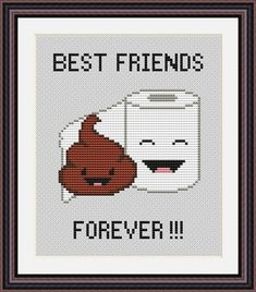 Poo and Toilet Paper Best Friends Forever is a pattern, not the completed work. This pattern is a super quick stitch and can be done in just a few hours. On 14-count aida the design measures 4.2*5.2 inches (59w*73h stitches). Sizes will change with count size. Design used 6 DMC thread colors. This pattern is in PDF format and consists of a floss list, and a color symbol chart. If you have any questions about this pattern, please ask me. I will contact you with any further instructions whe...