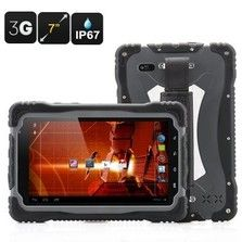 Brand new released professional on the job mobile solutions   Android Rugged Tablet 3G, Wifi, Bluetooth  Quad Core CPU 7 Inch Display, Gorilla Glass  IP67 Waterproof Rating 2 Megapixel Front-Facing Camera 8 Megapixel Rear Camera   Dimensions Main Product Dimensions: 198x129x20mm (L x W x D) Main Product Weight: 650g.  Package Contents Tablet Power Adapter Screw Driver Screen Protection Film USB Cable User Manual