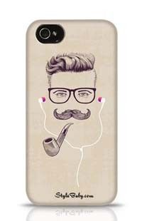 Hipster With Smoking Pipe And Earphones Apple iPhone 4S Phone Case