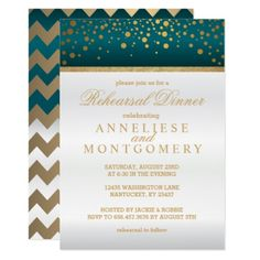White and Teal Gold Confetti - Rehearsal Dinner Card - wedding invitations diy cyo special idea personalize card