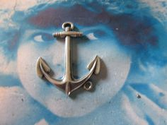 Sterling Silver Ox Plate Large Anchor Pendant  Straight or Bent for Bracelets 1013SOX x1 by dimestoreemporium on Etsy