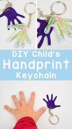 DIY Child's Handprint Keychain l Mother's Day l Father's Day l Grandparents l Keepsake l Gift
